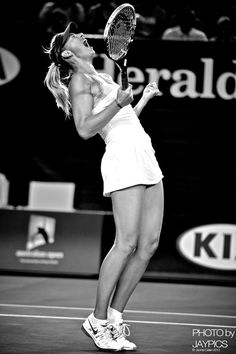 Maria Sharapova's celebration after winning match point during her 3rd Round match at the 2013 Australian Open. Sharapova def. Venus Williams 6-1, 6-3. Sharapova has only lost 4 games all open, and is certainly the player to beat.