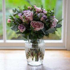 Garden Collection * Sweet Lilac Rose & Herb Bouquet | Flower Studio Shop Herb Bouquet, Lilac Roses, Flower Studio, Little Flowers, Myrtle, Garden Styles, Beautiful Flowers, Glass Vase, Herbs
