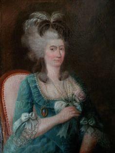 Portrait d'une femme en robe bleue, à la coiffure ornée de plumes, assise sur une chaise, vers 1770 artiste inconnu