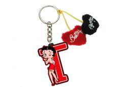 PORTACHIAVI BETTY BOOP LETTERA E CUORI T. Porta chiavi Betty Boop con lettera in plastica e cordino con due cuoricini in peluche uno rosso e l'altro nero