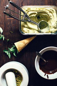 Pistachio + Thai Basil Ice Cream with Dark Chocolate Magic Shell [Vegan + Naturally Sweetened!] - Earthy Feast
