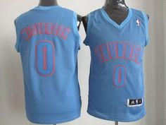 Thunder  0 Russell Westbrook Blue Big Color Fashion Stitched NBA Jersey 17745c3b8