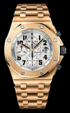 "Audemars Piguet Royal Oak Offshore Chronograph, 18 karat rose gold. Silvered ""Mega Tapisserie"" pattern dial, silvered counters, pink gold applies Arabic numerals with luminescent coating. Available at  Cellini Jewelers"