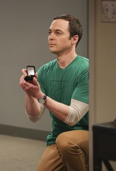 """""""The Long Distance Dissonance""""-- Pictured: Sheldon Cooper (Jim Parsons). The gang is concerned when Sheldon's former admirer, Dr. Ramona Nowitzki (Riki Lindhome), resurfaces while Amy is away at Princeton, on the 10th season finale of THE BIG BANG THEORY, Thursday, May 11 (8:00-8:31 PM, ET/PT) on the CBS Television Network. Photo: Michael Yarish/Warner Bros. Entertainment Inc. © 2017 WBEI. All rights reserved."""