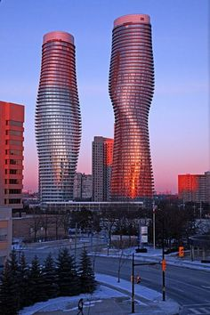 Absolute Towers @ Mississauga, Ontario.  I work right beside these buildings.  They're pretty cool.