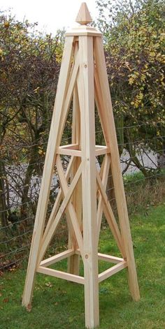 Bolas-Wooden-Garden-Obelisk Wooden Garden Obelisks - The Bolas   50x50x180cm(High) (BOWG.O.S)   Pine   Clear,Golden Brown,White or Sage    £198,50