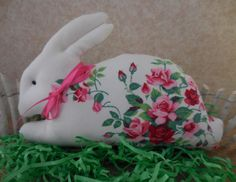 Primitive Easter Bunny Rabbit Pillow Tuck Vintage Wilendur Tablecloth Roses Springtime by auntiemeowsprims on Etsy