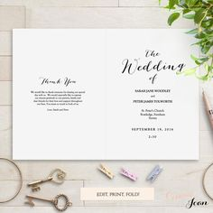 Printable folded wedding program template front and back