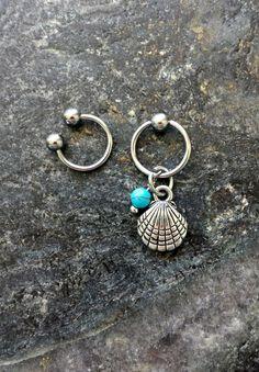 #cbr #captivebeadring #bodyjewelry #bodypiercing #20g #18g #16g #14g #bcr #beadcaptivering #piercing #piercings #stonejewelry #stone #horseshoering #cartilagepiercing #helix #helixpiercing #hoops Mermaid Shell & Turquoise - 20g 18g 16g 14g CBR / BCR Bead Captive Ring Horseshoe Piercing Jewelry Hoop ( Helix Tragus Orbital )