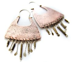 Large Tribal Inspired Copper and Sterling Silver Jewelry with Fringes - Mixed Metal Earrings - Metalsmith Jewelry. $62.00, via Etsy.