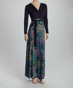 Loving this Navy & Green Diamond-Contrast Maxi Dress on #zulily! #zulilyfinds