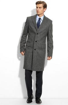 BOSS Black 'Greenwich' Herringbone Wool Blend Overcoat