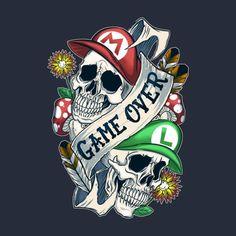 Game Over Brothers - Game Over Brothers - Cartoon Kunst, Cartoon Art, Mario And Luigi, Mario Bros, Arte Do Kawaii, Gamer Tattoos, Gaming Tattoo, Nintendo Tattoo, Graffiti Drawing