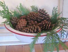 Country Christmas idea...have the enamel bowl already!