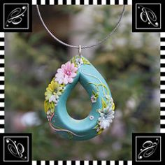 The edge of drop (VeronicaPuzzleCane) Tags: flower drop polymerclay pinkflower etsy embroider clayflower jadecolor veronicaworks