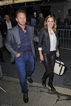 Fun and flirty: Geri and Christian arrive for the Kate Bush concert at London's Hammersmit...