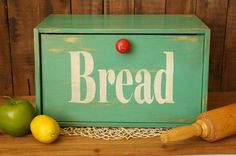 Teal And Red Wood Bread Box Breadbox Upcycled Farmhouse Chic - Shabby Chic…