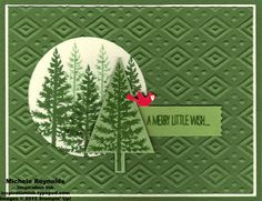 handmade Chistmast card ... Festival of Trees trees stamped in a circle window ... monochromatic green with a pop of red with a tiny cardinal ... Stampin' Up!