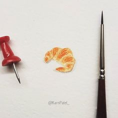 Who likes Croissants? Want me to paint something, leave a comment below. #miniaturepainting #croissant #2017