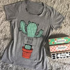 Women Free Hugs Letters Cactus Printing O-Neck T-Shirts Summer Short Sleeves Tees Sporting Baseball Female Tee Tops Casual Loose Cute Tshirts, Cool T Shirts, Funny Shirts, Printed Tees, Printed Shorts, Mode Kimono, Geile T-shirts, Free Hugs, Shirt Designs