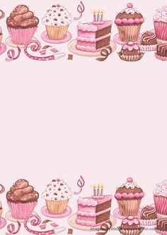 Pink Stationery with Cupcakes, Cakes, etc.