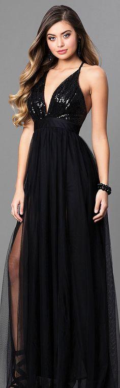 Sequin-Bodice Long Prom Dress with Empire-Waistline