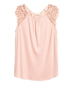 Jersey Top with Lace | Powder pink | WOMEN | H&M US