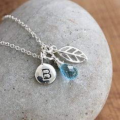 Blue Topaz Initial Letter Necklace #Blue #Handmade #Silver