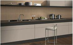 For duotone, combine melamines Sand Zebrano & Sand Beige with counter Brown Fine Granite. Kitchenette, Modern Kitchen Design, Kitchen Accessories, Kitchen Cabinets, Table, Kitchen Inspiration, Granite, Furniture, Counter