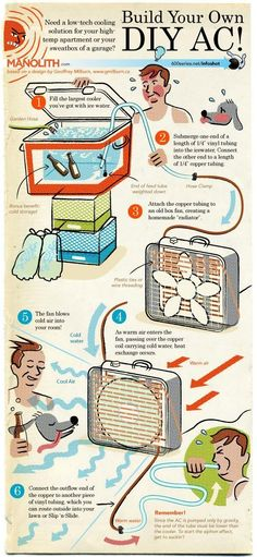DIY Air Conditioner From Household Items | Best Homemade Air Cooler by Survival Life http://survivallife.com/2014/03/25/diy-air-conditioner-household-items/