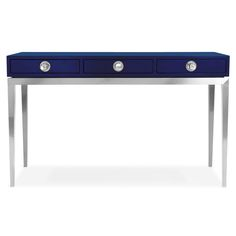 """Jonathan Adler - Channing 3-Drawer Console - 48""""W x 14:D x 29.5""""H navy blue #colorfurniture"""