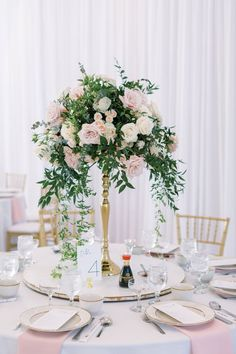 Tall Centerpiece on Gold Stand at Wedding Tall Wedding Centerpieces, Wedding Aisle Decorations, Tall Centerpiece, Romantic Weddings, Real Weddings, Secret Santa Gift Exchange, Bridesmaid Getting Ready, Destination Wedding Inspiration, Wedding Reception
