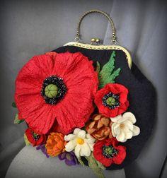Nuno Felting, Black Felt, Red Poppies, Felt Flowers, Handmade Bags, Bag Making, Wool Felt, Gifts For Her, Coin Purse