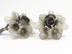 Hard Plastic Flower Clip Earrings Grey Flower Earrings Vintage  #trcteam