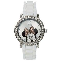 For Gracie's mommy Disney Minnie Mouse Analog Wristwatch - White Cute Disney, Disney Style, Minnie Mouse Watch, Disney Inspired Fashion, Disney Fashion, Magical Jewelry, Adventures By Disney, Disney Addict, Disney Jewelry