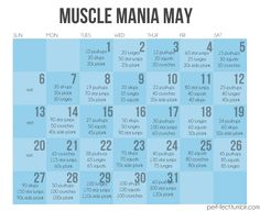 Another monthly workout calendar! Muscle Mania May! http://24.media.tumblr.com/tumblr_m3cgup5eHV1r98dhpo1_1280.jpg