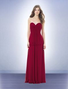 CRANBERRY chiffon strapless dress sweetheart pleated twist front bodice floor-length