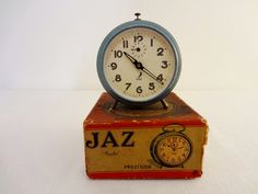 Vintage French Art Deco Light Blue JAZ Alarm by Decofanatique, $70.00