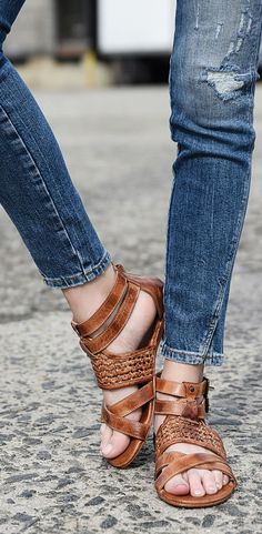 Pair these BEDSTU tan sandals with distressed jeans for a comfy casual weekend look.