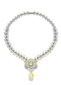 Piaget #Rose Passion #necklace in white #gold set with 446 brilliant-cut diamonds, 28 marquise-cut diamonds, 52 round yellow diamonds, 16 marquise-cut yellow diamonds, 1 cushion-cut yellow diamond  and 1 pear-shaped yellow diamond