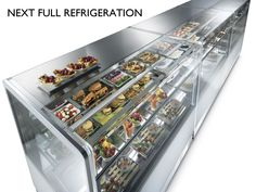Next Model Series Refrigerated Bakery Pastry displays LED Lighting Coffee Shop Counter, Pastry Display, Bar Displays, Pastry Shop, Safety Glass, Display Shelves, Glass Panels, Sliding Doors, Ice Cream
