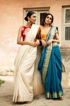 Saree red and off white Sari yellow and blue Indian Attire, Indian Ethnic Wear, Indian Outfits, Indian Dresses, Dresses Dresses, Trendy Sarees, Stylish Sarees, Saree Draping Styles, Saree Styles