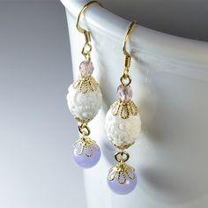 Purple Bead Dangle Earrings, Beaded Lavender Earrings via Etsy.