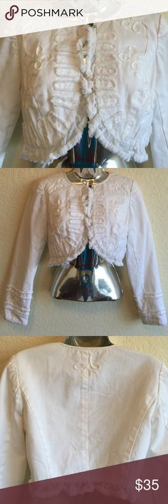 """Amazing cropped jacket! Too cute to pass!! Fully lined white Denim cropped jacket with frayed round edges. Top ball button only. Lots of detail. Figure faltering. Worn once. Outside arm 22"""", length in back 13-14"""", armpit to armpit laying flat 17"""" ( open in front so will accommodate back measures 14.5 across.100%cotton outer, 100% poly liner Latina Life Jackets & Coats Jean Jackets"""