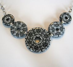 Black Grey and White Five Stone Polymer Necklace by jkldesign1, $42.99