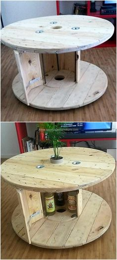 recycled pallet cable reel table cum bar