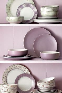 Buy 12 Piece Mauve Dinner Set from the Next UK online shop Purple Plates, Purple Rooms, Comfort And Joy, Dinner Sets, Cool Rooms, Shades Of Purple, Country Kitchen, Interior And Exterior, Interior Design