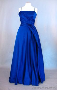 Vintage 50s Blue Silk Satin Evening Gown Dress  -This vintage 50s gown comes from a very wealthy Concord,MA estate and was originally purchsed @ La Maisonette on Newbury Street in Boston. Which was a v. Exclusive shop.