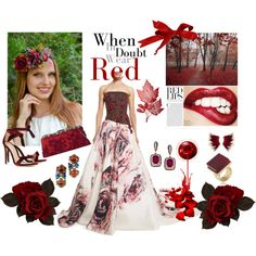 RED by #vualia on #Polyvore featuring #MoniqueLhuillier, #AlexandreBirman, #Valentino, and #TrinaTurk. #red #romantic #passion #fashion #style #styleblogger #jewelry #Gripoix #hot #rubyred #ruby #runway