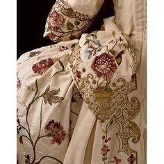 1740s British court Mantua, embroidered silk with colored silk and metal threads, at V&A Museum